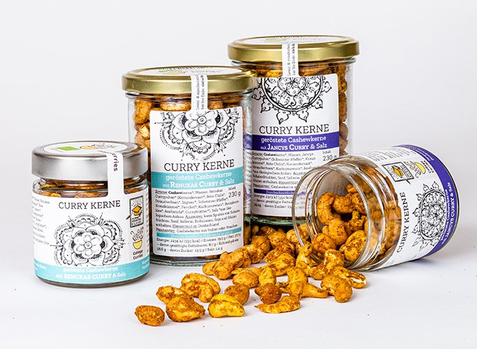 College Curries Snacks Curry Kerne geröstete Cashewkerne mit Curry & Salz