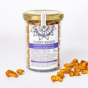 Curry Kerne - geröstete Cashewkerne mit Jancys Curry und Salz